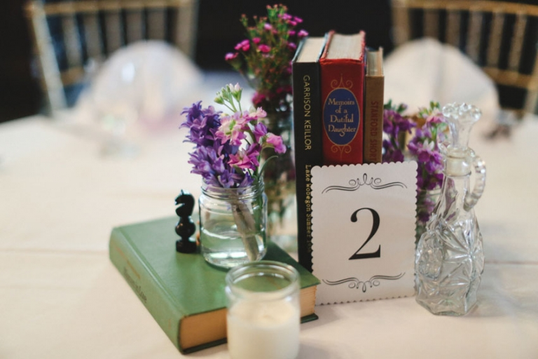 Book table centerpiece wedding decor