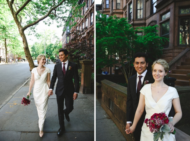 Walking in the streets of Brooklyn on their wedding day