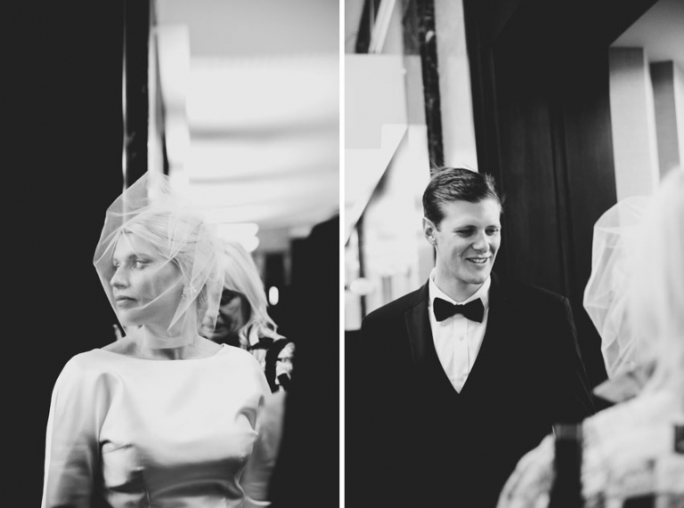black and white ny city hall wedding