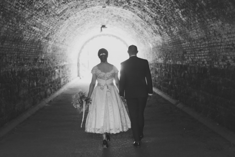 black and white central park wedding photo