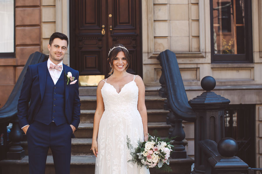 wedding photos with brownstones on the west village