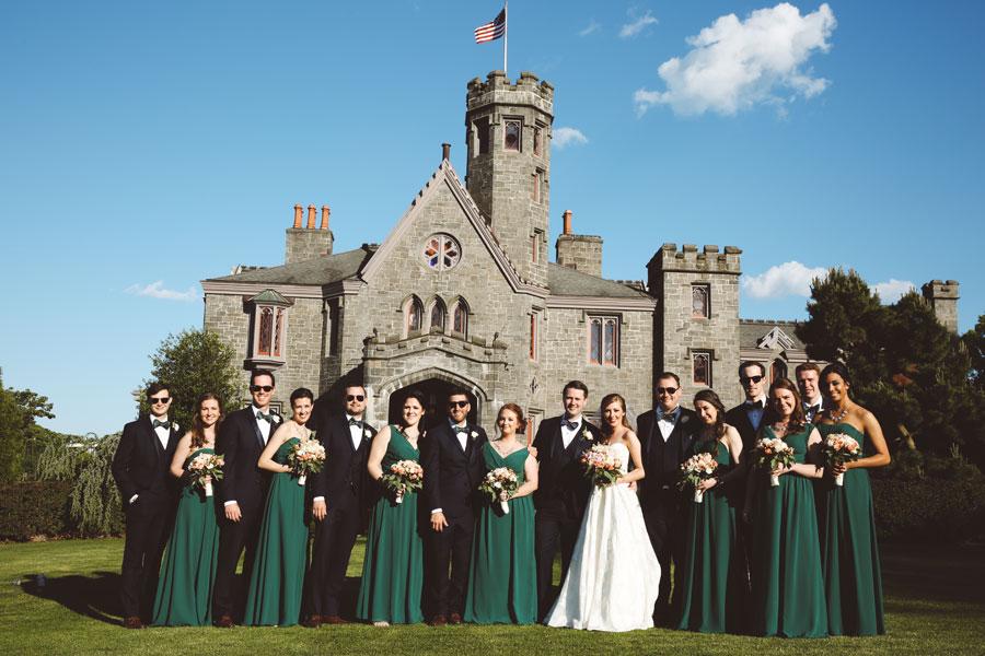Bridal Party In Front Of The Whitby Castle Wedding