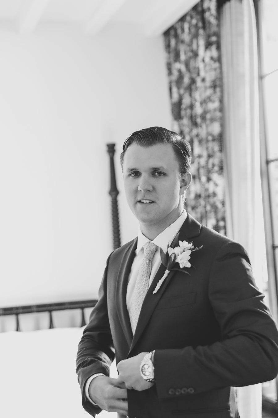 Groom getting ready at the Ludlow Hotel