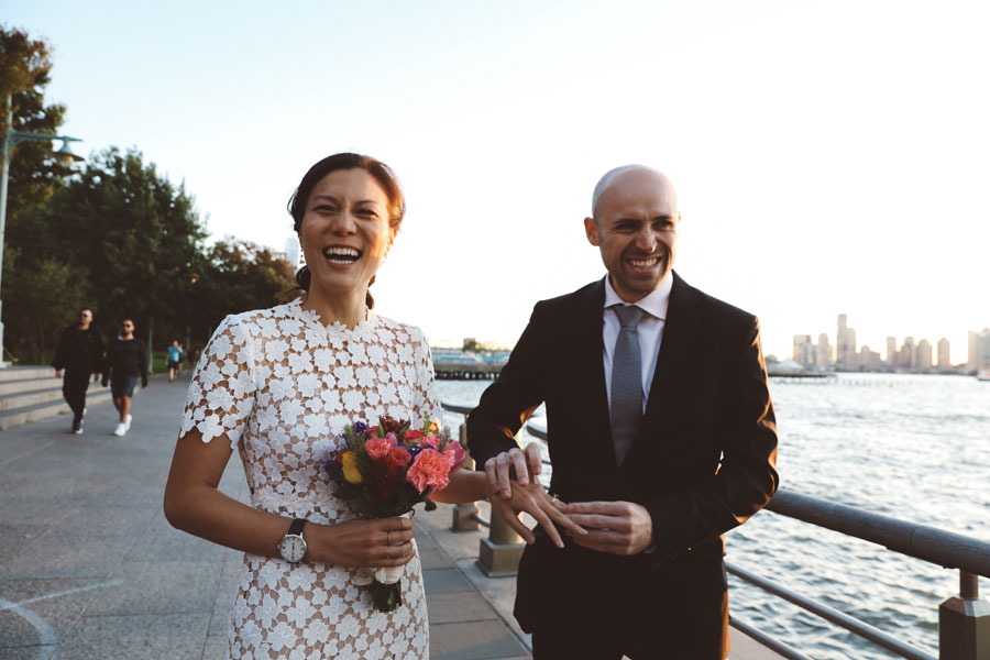 nyc sunset wedding on the west side