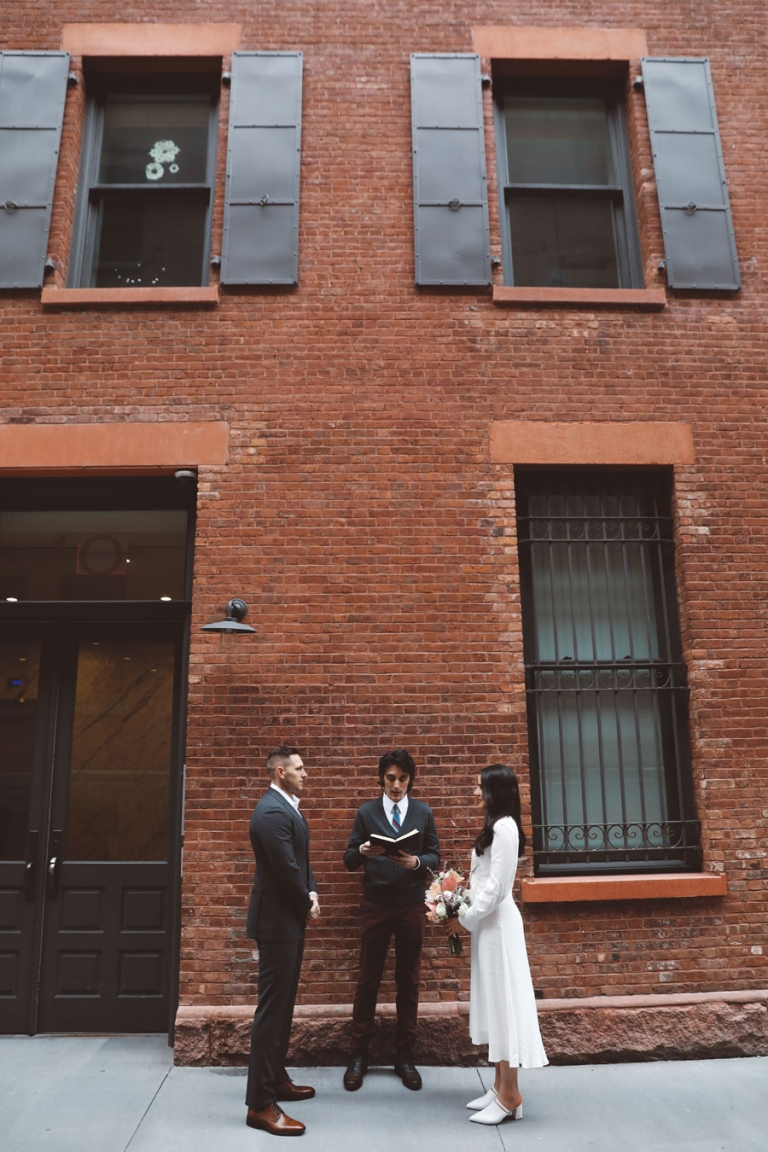 elopement photography outside the dity hall