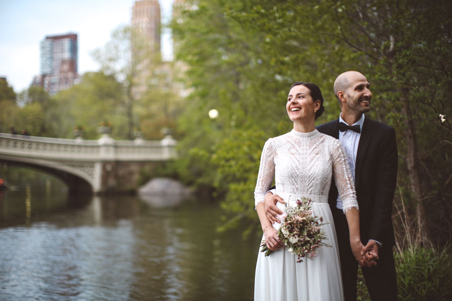 Intimate Bow Bridge Central Park Wedding