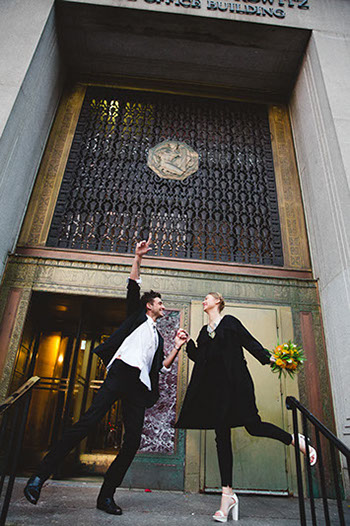 Picture of a couple just married at NY City Hall